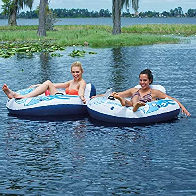New Lazy River Float Tubes Twin Pack by CoolerZ (White/Blue): Toys & Games