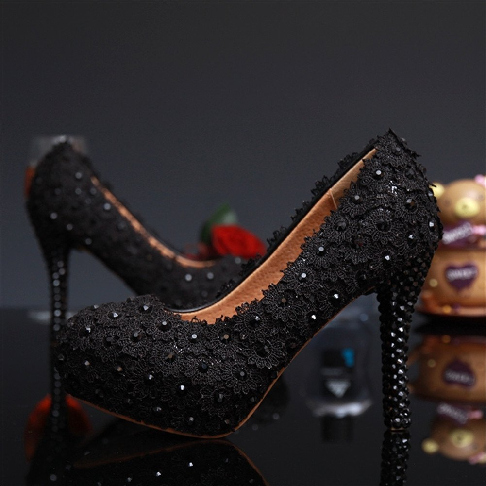 BoShi Womens Evening Prom Diamond Pumps Lace Party Shoes
