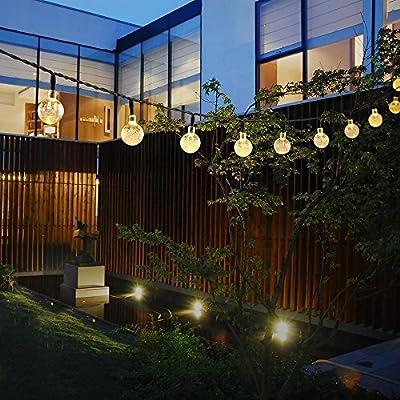 Tutent Solar String Lights 21.3 ft 30 LED Crystal Ball Christmas Globe Lights Decorative Outside Lighting for Patio, Home, Bistro, Backyard or Garden(Warm White)