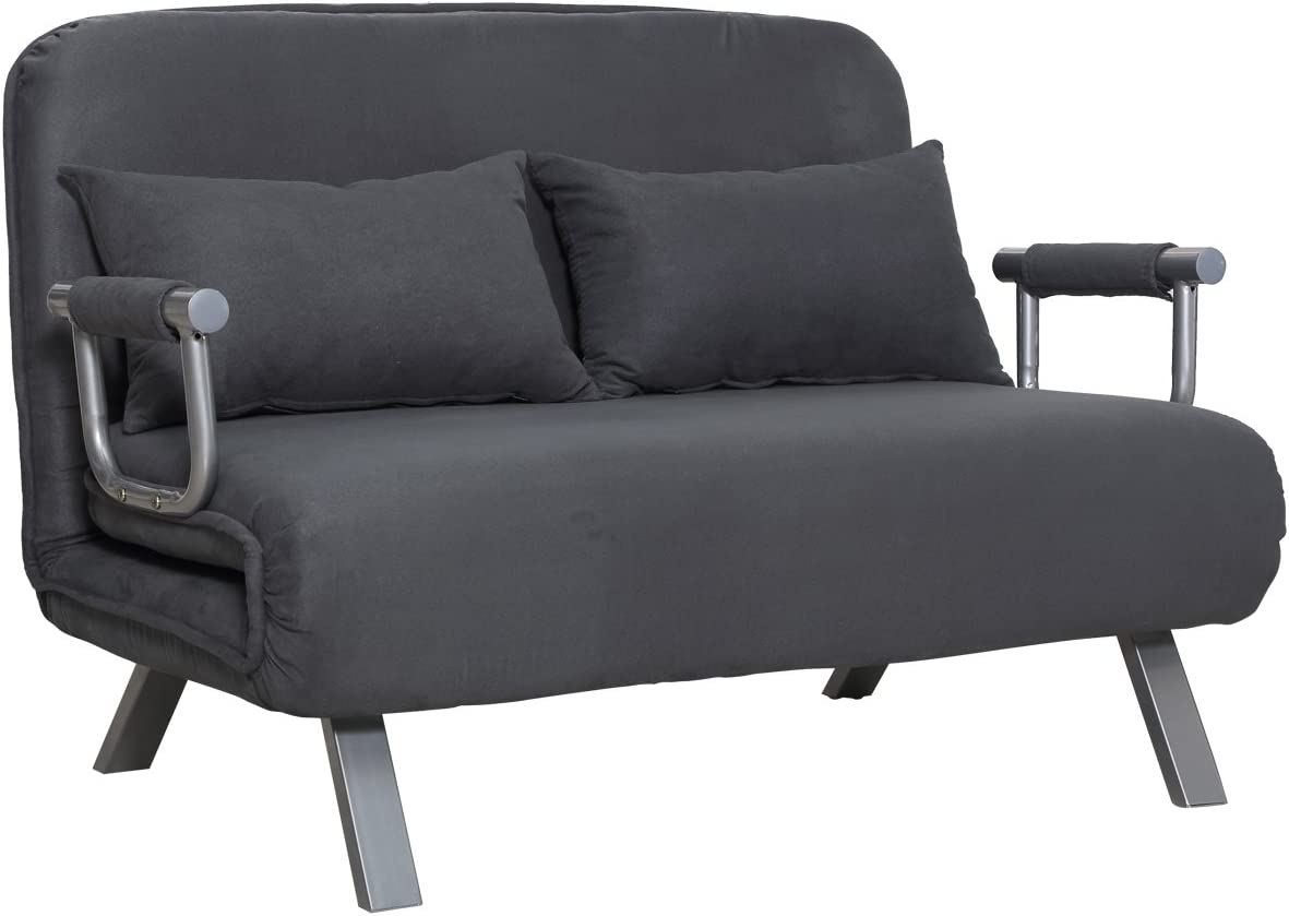 Homcom Two Person Convertible Sleeper Sofa Double Lounge Chair Leisure Recliner 5 Position Adjustable Couch Folding Home Office W Pillow Grey Amazon Ca Home Kitchen
