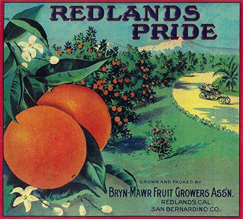 - Redlands Pride Orange - Vintage Crate Label (12x18 Fine Art Print, Home Wall Decor Artwork Poster)