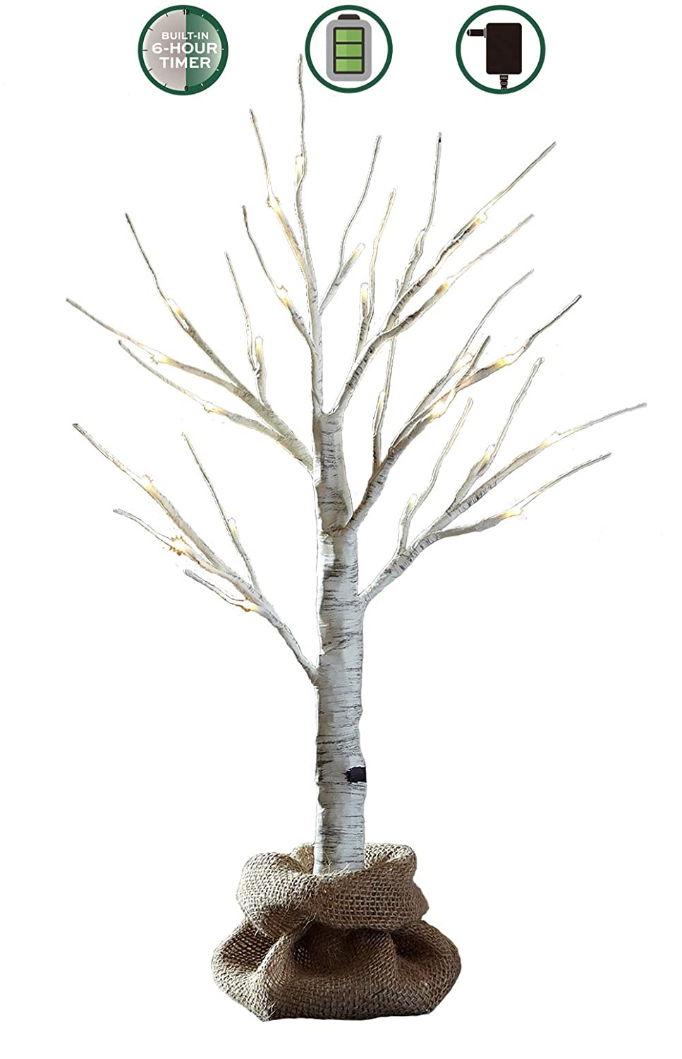 LOFTPLUS LED Birch Tree Hand-Painted Bonsai String Light 24 LED for Indoor Use Warm White Battery-Operated AC Adapter Burlap sack Included 24inch Tall