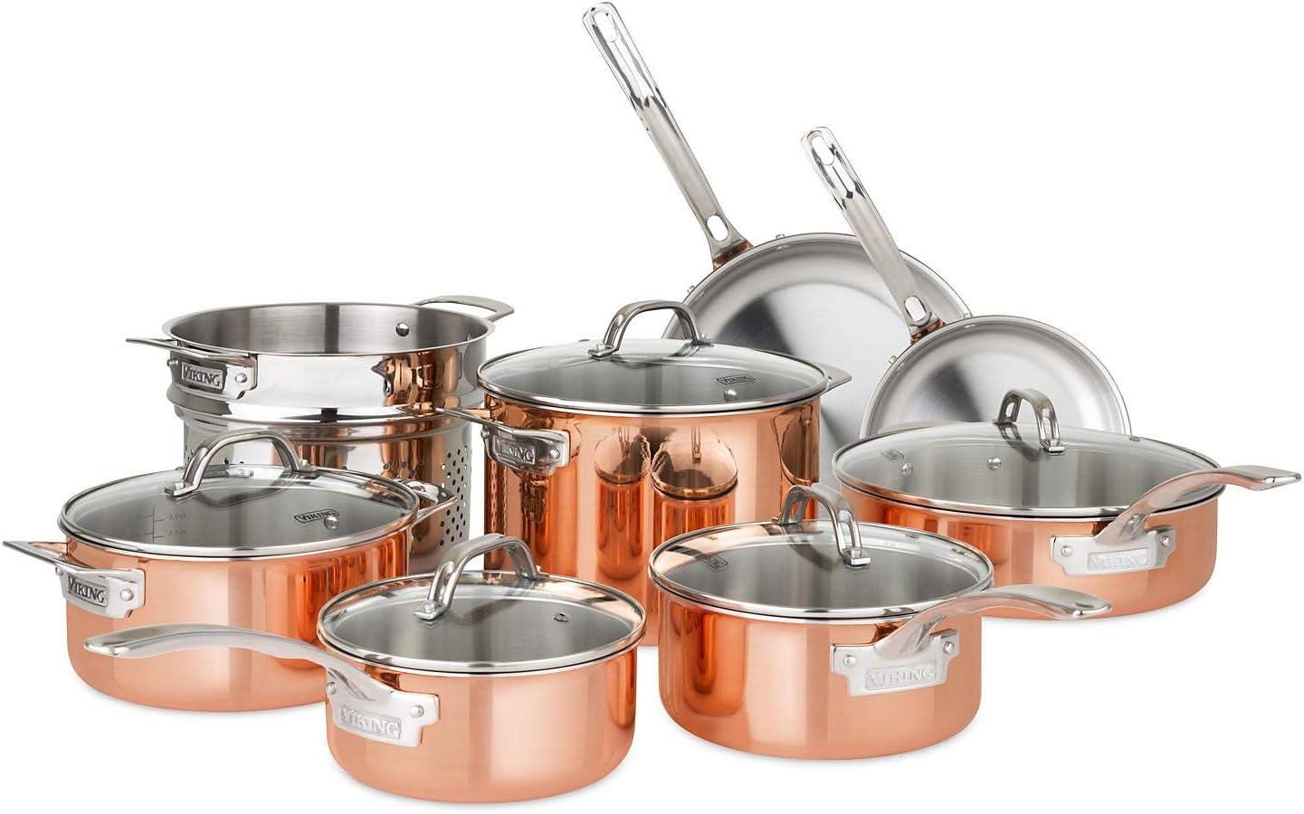13-Piece Viking Tri-Ply Copper Cookware