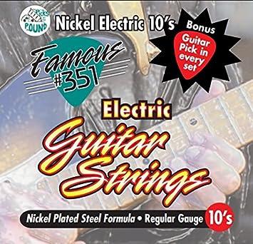 Famous #351 SE-351-10 - Cuerdas para guitarra eléctrica (níquel, calibre regular, incluye cada juego): Amazon.es: Instrumentos musicales
