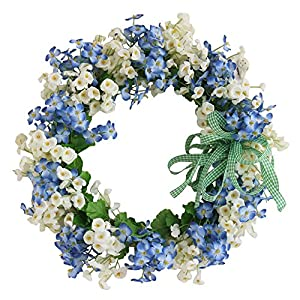 Grace Florist Blue & White Handmade Silk Flower Head Floral Front Door Wreath Home Wall Decor for Spring