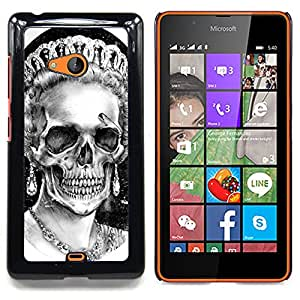 - Queen Crown White Black Skull Dead - - Snap-On Rugged Hard Cover Case Funny HouseFOR Microsoft Nokia Lumia 540 N540