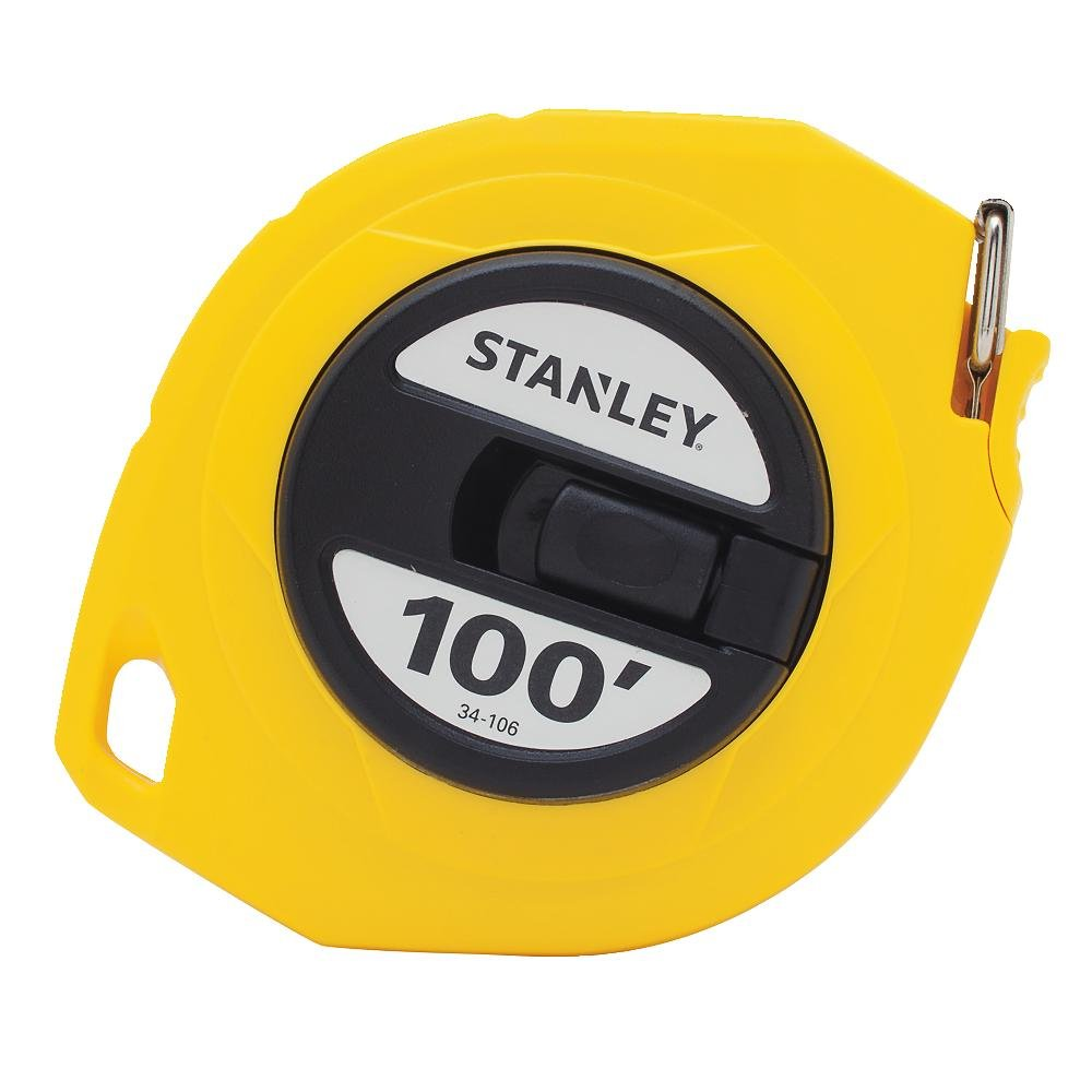Stanley 34-106 Long Tape Measure, 3/8'' Graduations, 100 ft, Yellow