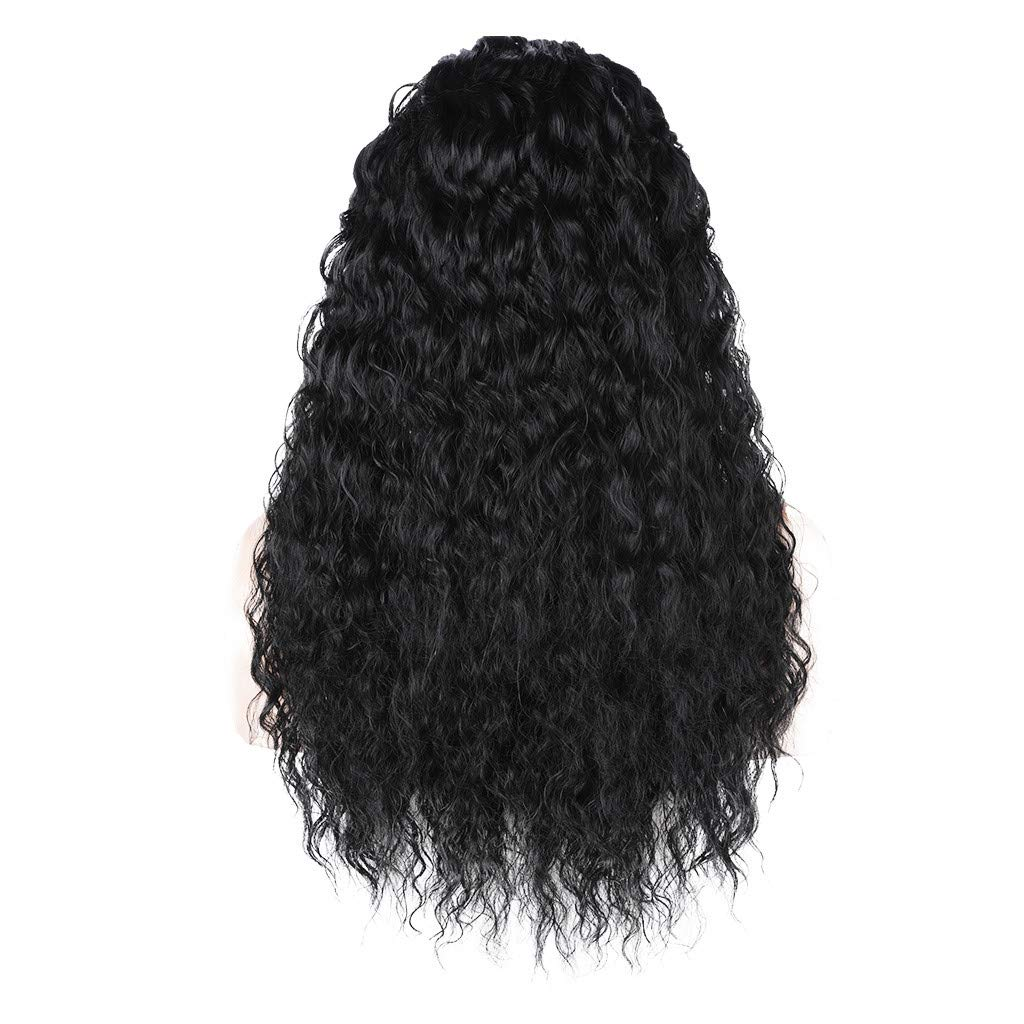 JYS Long Bob Lace Front Wig Synthetic Black Wig Glueless Wave Hair Heat Resistant Fibers Middle Parting 24 Inches for Ladies Cosplay Costume Halloween Party Hair Wig (Black)