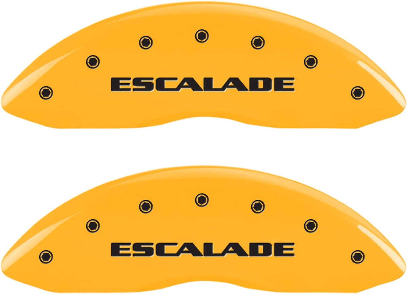 Set of 4, Engraved Front and Rear: Escalade, Yellow powder coat finish, black characters MGP Caliper Covers 35015SESCYL Yellow Caliper Cover