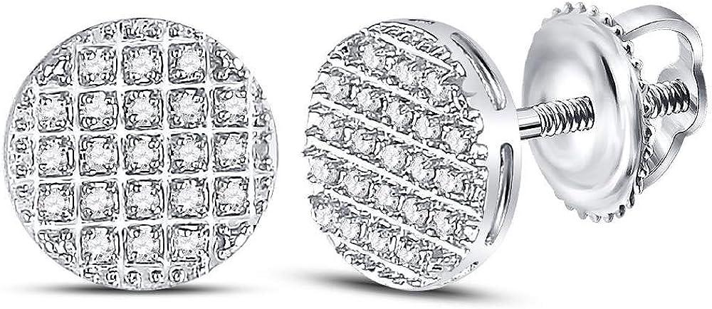 10k White Gold Mens Round Diamond Circle Cluster Earrings 1/6 Cttw