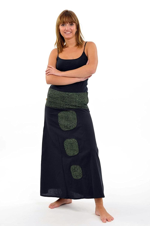 - Skirt Tribal teuffeuse Nama Black Green Khaki -