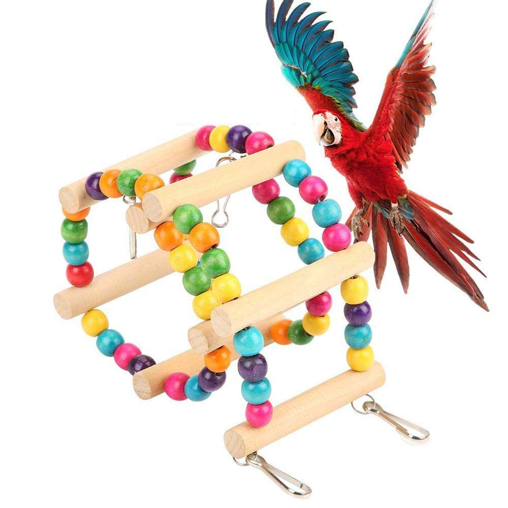 FXQIN Bird Wooden Ladder, Parrot Hanging Ladders Toy Climbing Swing Colorful Bridge Toys for Pet Hamster Parakeet Cockatiel Trainning by FXQIN
