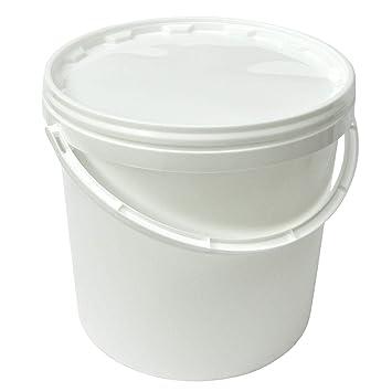 10 x 10 L Eimer mit Deckel WEISS Kunststoffeimer Deckel Henkel Lebensmittelecht