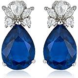 Jewellery Pear Cut Gemstone Fine CZ 18K White Gold Plated Prom Teardrop Dangle Drop Earrings Simple Modern Elegant Pierced [Free Jewelry Pouch] (Purple Amethst)