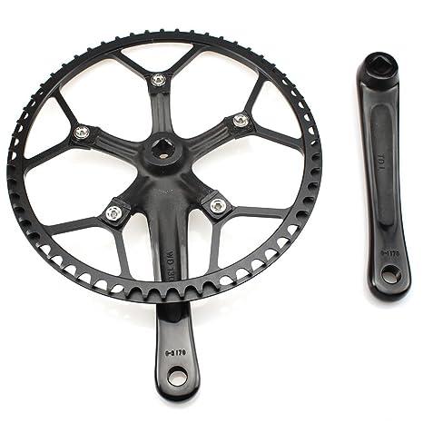 Sola velocidad bielas (platos 58T 170 mm manivela brazo 130 BCD LitePro bicicleta plegable (con funda protectora para bicicleta de velocidad única, pista, ...