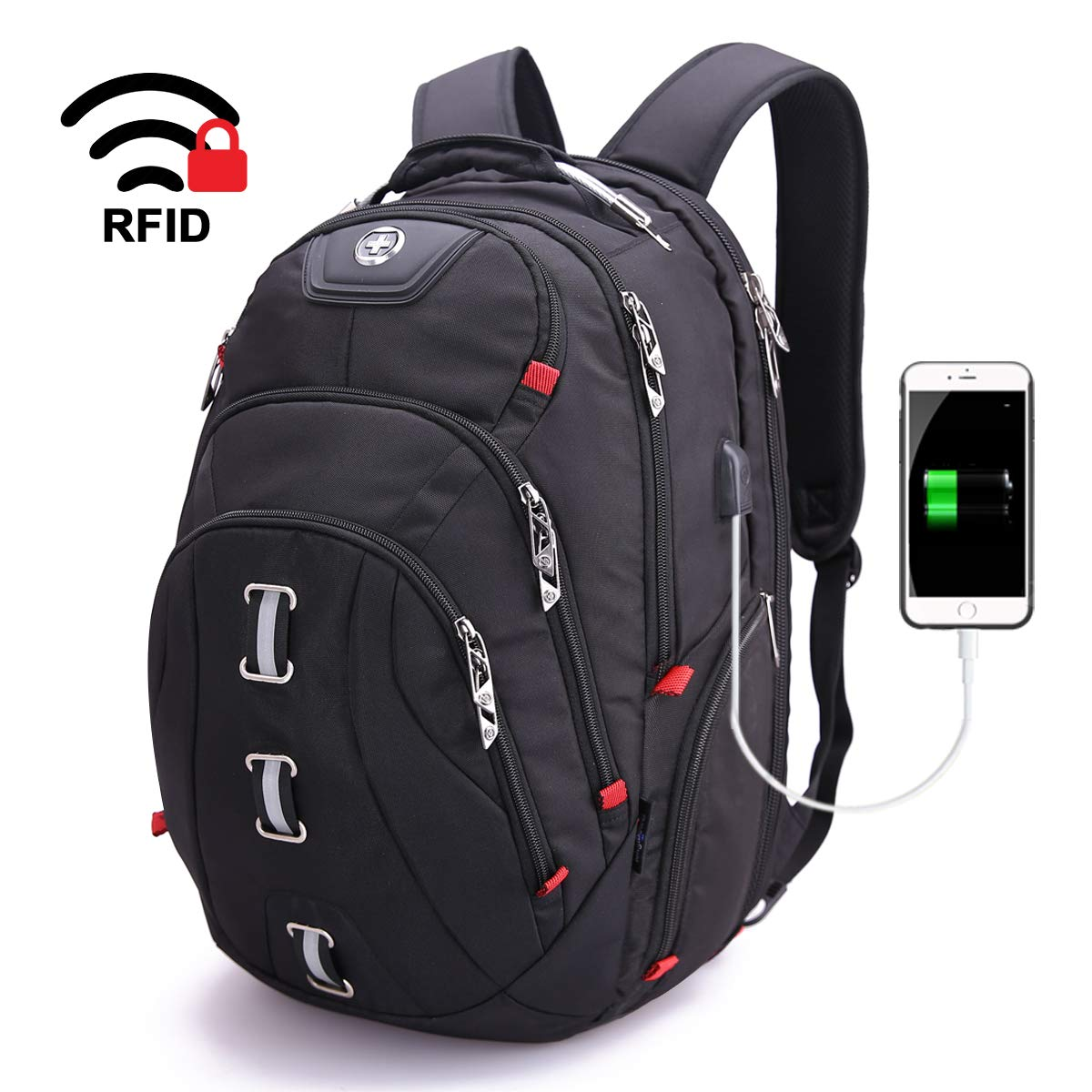 Swissdigital Business Travel Laptop Backpack-for Man and Woman with Smart USB Charging Port Fits 15.6 inches laptops, Black by Swissdigital