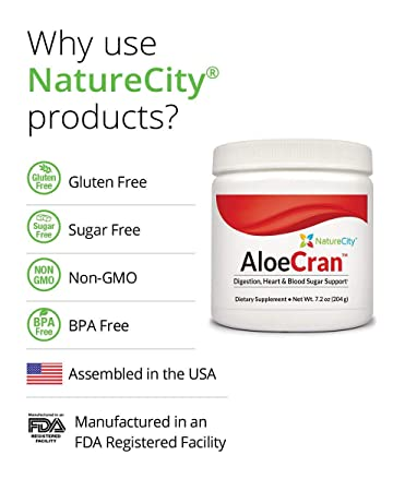 AloeCran – Sugar Free Aloe Vera Cranberry Drink Mix Featuring 5 Grams of Organic Fiber