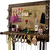 Large Jewelry Wall Mounted Organizer | Premium Decorative Mesh &Grooved Shelf Rack | Rustic Necklace Hanger & Earring Holder | Best Christmas, Birthday Gifts Ideas for Her ( Wife, Girlfriend, Mom )