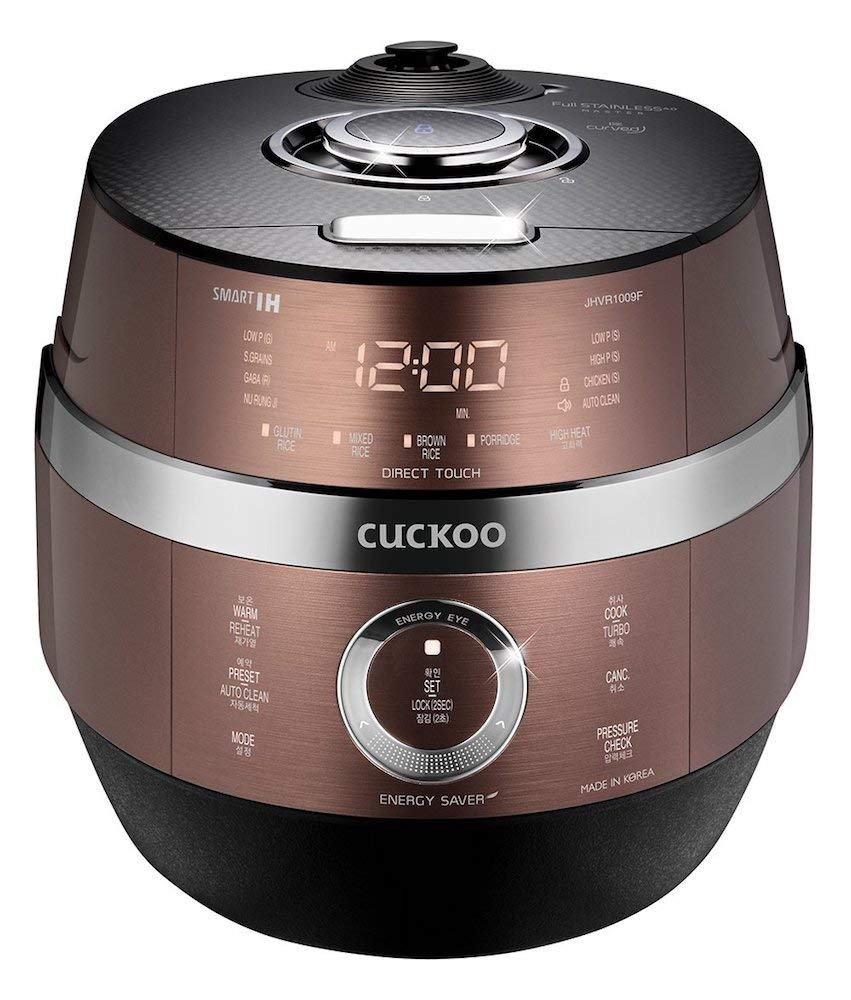 Cuckoo CRP-JHVR1009F Multifunctional and Programmable Electric Induction Heating Pressure Rice Cooker, Fuzzy Logic and Intelligent Cooking Algorithm - 10 Cups, Brown