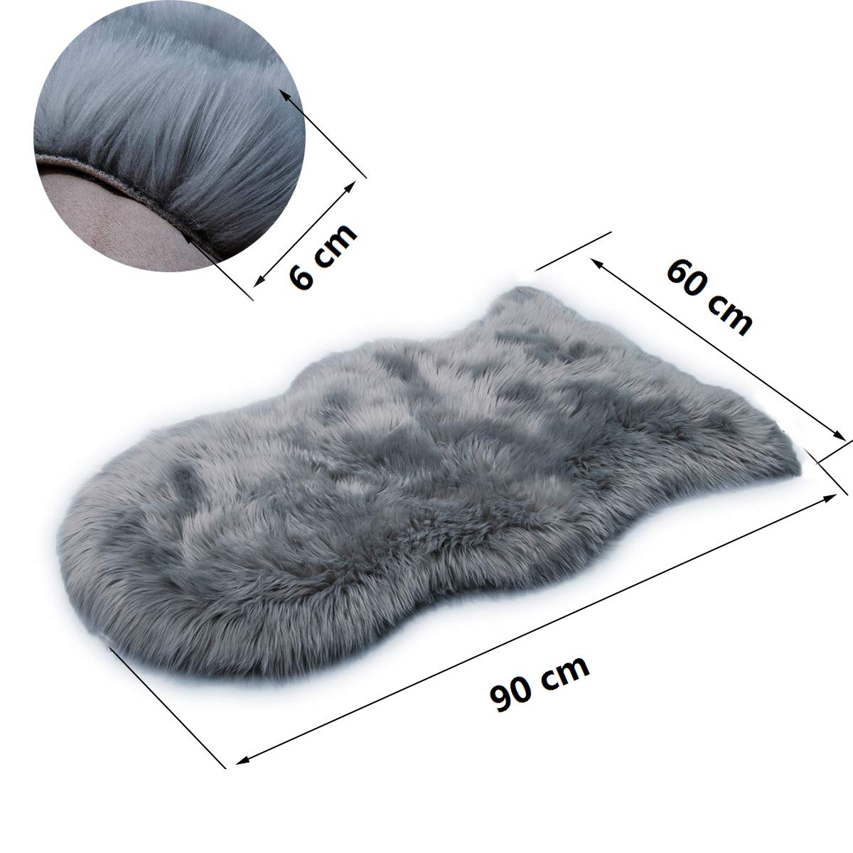 HLZDH faux fur soft fluffy single sheepskin stule Style Rug, Faux Fleece Chair Cover Seat Pad Soft Fluffy Shaggy Area Rugs For Bedroom Sofa Floor