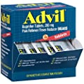 Advil (50 Packets of 2 Capsules) Pain Reliever / Fever Reducer Coated Tablet, Individually Sealed, 200mg Ibuprofen, Temporary Pain Relief