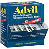 #4: Advil (50 Packets of 2 Capsules) Pain Reliever/Fever Reducer Coated Tablet, Individually Sealed, 200mg Ibuprofen, Temporary Pain Relief, Travel Pack