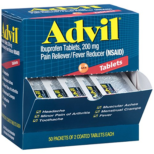 Advil Pain Reliever / Fever Reducer Coated Tablet Refill, 200mg Ibuprofen, Temporary Pain Relief (50 Packets of 2 Capsules)