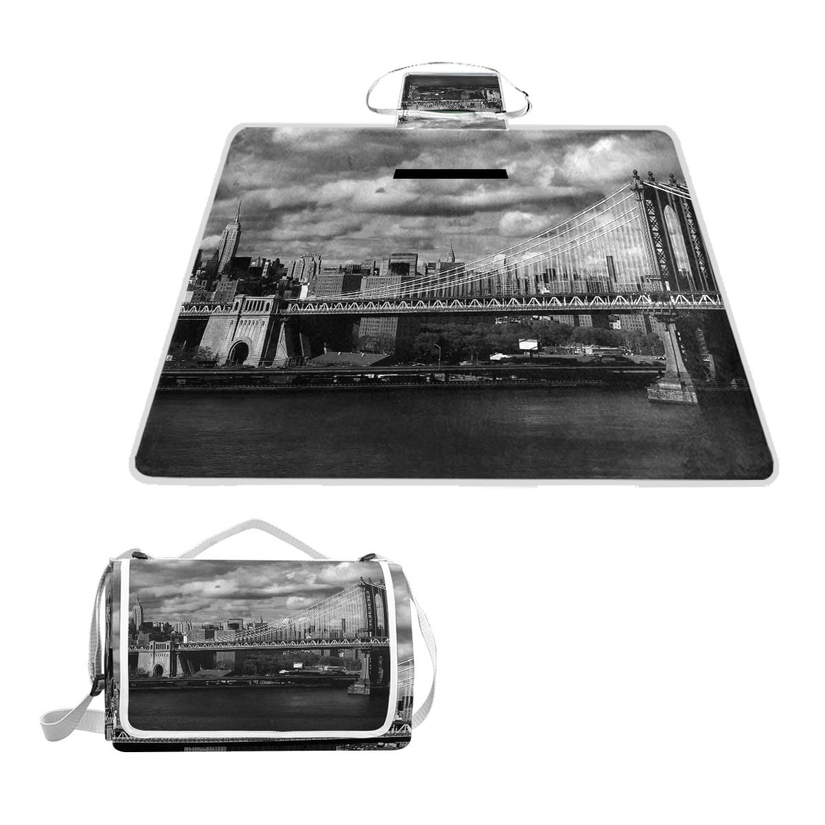 KVMV Black and White Panorama of New York City Skyline with Focus On Manhattan Bridge Photo Picnic Mat Sandproof and Waterproof Outdoor Picnic Blanket for Camping Hiking Beach Grass Travel by KVMV