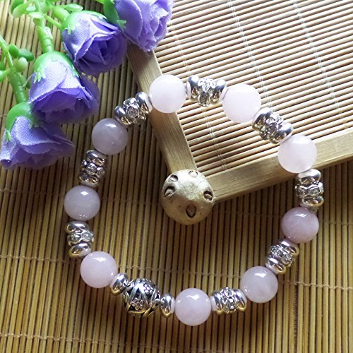 (Yuteng Jewelry®10mm Rose Quartz Round & Tibet silver bead bracelet 7.5 inch)