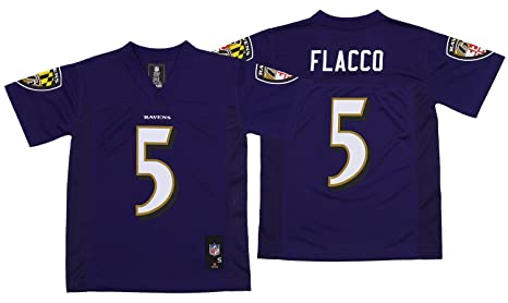 a3c29fbb498 Outerstuff Baltimore Ravens NFL Boys Youth JOE FLACCO #5 Mid-Tier Jersey,  Purple