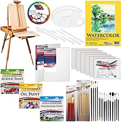 "US ART SUPPLY 121-Piece Custom Artist Painting Kit with Coronado Sonoma Easel, 24-Tubes Acrylic Colors, 24-Tubes Oil Painting Colors, 24-tubes Watercolor Painting Colors, 2-each 16""x20"" Artist Quality Stretched Canvases, 6-each 11""x14"" Canvas Panels, 11""x"