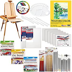 "US ART SUPPLY 121-Piece Custom Artist Painting Kit with Coronado Sonoma Easel, 24-Tubes Acrylic Colors, 24-Tubes Oil Painting Colors, 24-tubes Watercolor Painting Colors, 2-each 16""x20"" Artist Quality Stretched Canvases, 6-each 11""x14"" Canvas Panels, 11""x14"" Watercolor Paper Pad, 10-Natural Hair Bristle Paint Brushes, 7-Nylon Hair Paint Brushes, 15-Multipurpose Paint Brushes, Trowel, Pallete Knife, 17-Well Paint Mixing Pallete"