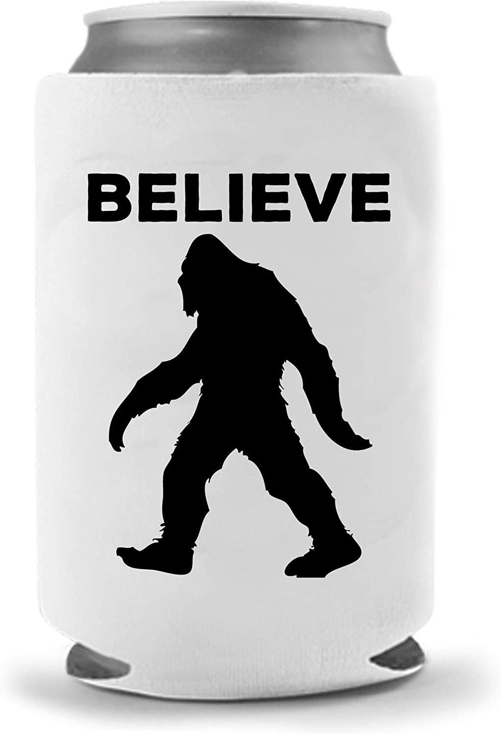 Believe Sasquatch | Bigfoot Funny Novelty Can Cooler Coolie Huggie | Beer Beverage Holder - Beer Gifts Home - Quality Neoprene Sasquatch Bigfoot Gifts Can Cooler