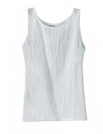 8b80057fa28693 ZANLICE Women s Loose Crew Neck Tank Tops Cotton Linen Camisole at Amazon Women s  Clothing store
