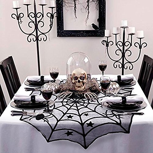 Costumes Christmas Creepy Crawly (2 Pack Halloween Decorations Black Lace Spider Round Web Tablecloth Fireplace Table Topper Covers (Black)
