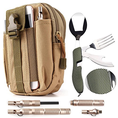 Camping / Survival Kit - Military Canvas Pouch with Phone Slot (1) + Folding Utensils (1) + Emergency Magnesium Survival Fire Starter Flint (1) by YazyCraft