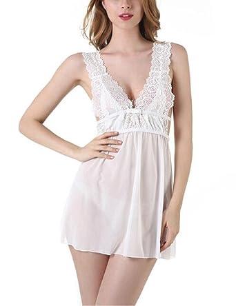 24d8457ca1080 Women Deep V Neck Halter Backless Chemise Lingerie Nightgown See ...