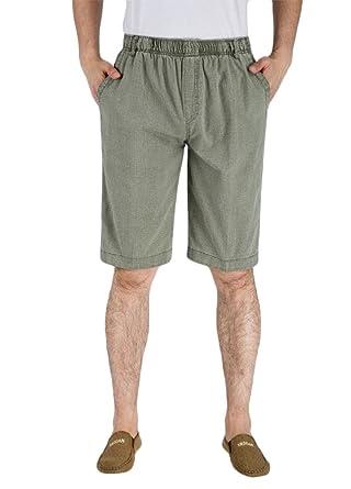 f012e75243bcf Aooword Men Plus Size Capri Pant Stretch Waist Casual Trousers Shorts Army  Green 2XL