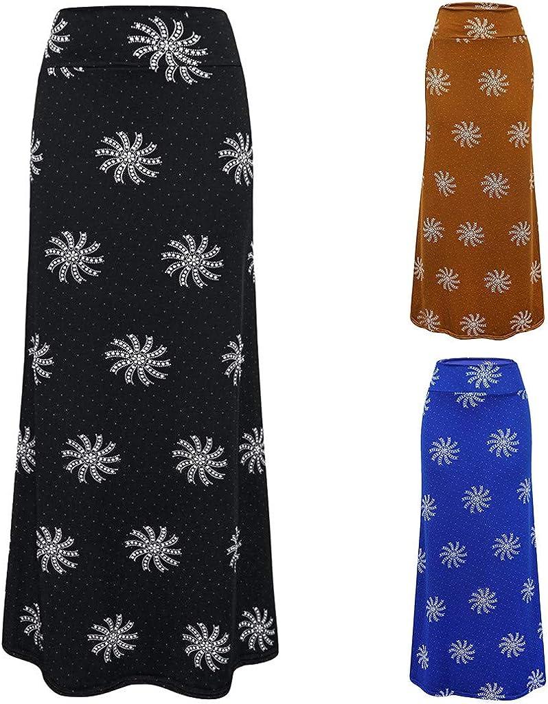 SERYU Women's Summer Casual High Waist Flower Printed Bodycon Long Maxi Skirt A Black