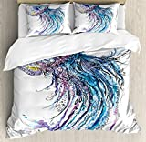 Ambesonne Jellyfish Duvet Cover Set, Aqua Colors Art Ocean Animal Print Sketch Style Creative Sea Marine Theme, 3 Piece Bedding Set with Pillow Shams, Queen/Full, Blue Purple White