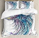 Ambesonne Jellyfish Duvet Cover Set, Aqua Colors Art Ocean Animal Print Sketch Style Creative Sea Marine Theme, 3 Piece Bedding Set with Pillow Shams, Queen/Full, Blue Purple White