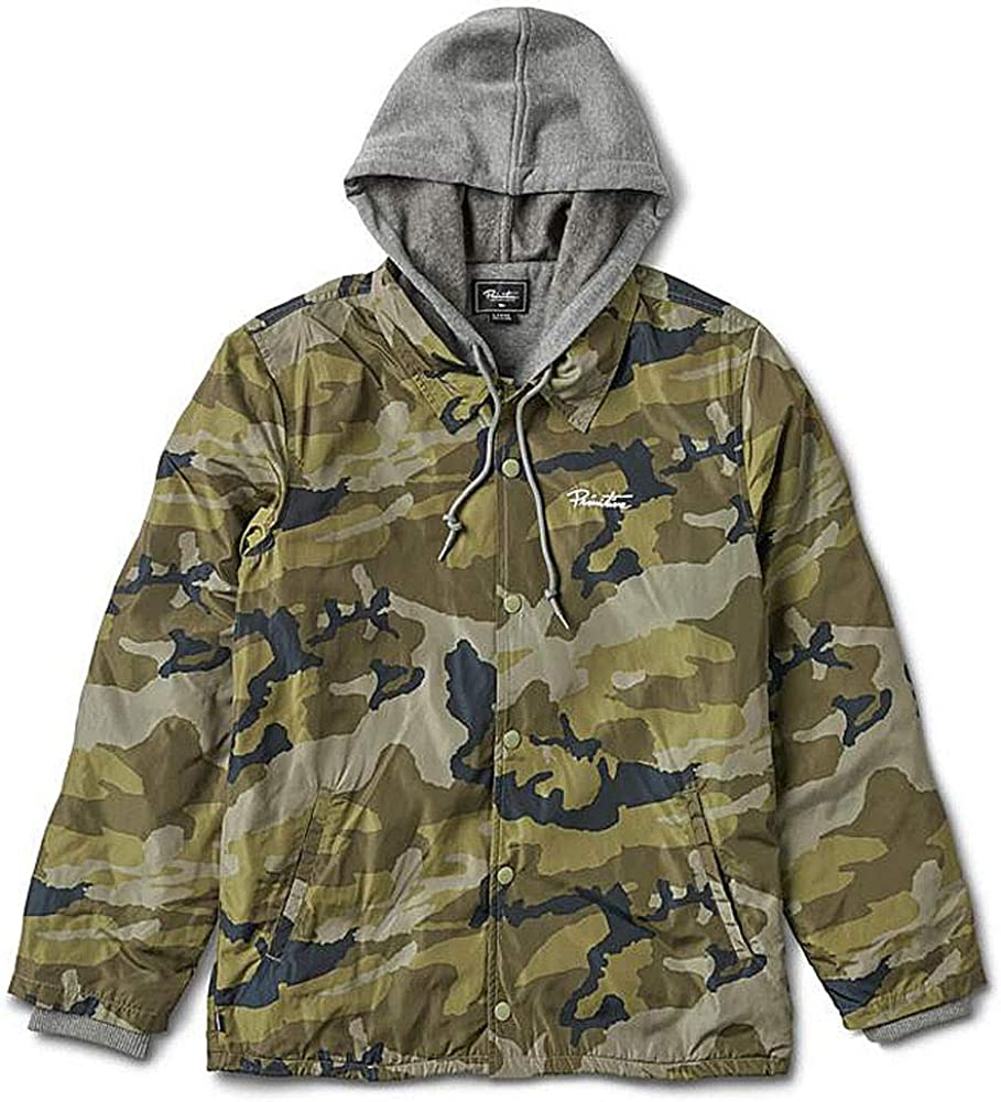 Primitive Skate Mens Two-fer Coach Snap Button Hooded Long Sleeve Jacket Camo Green