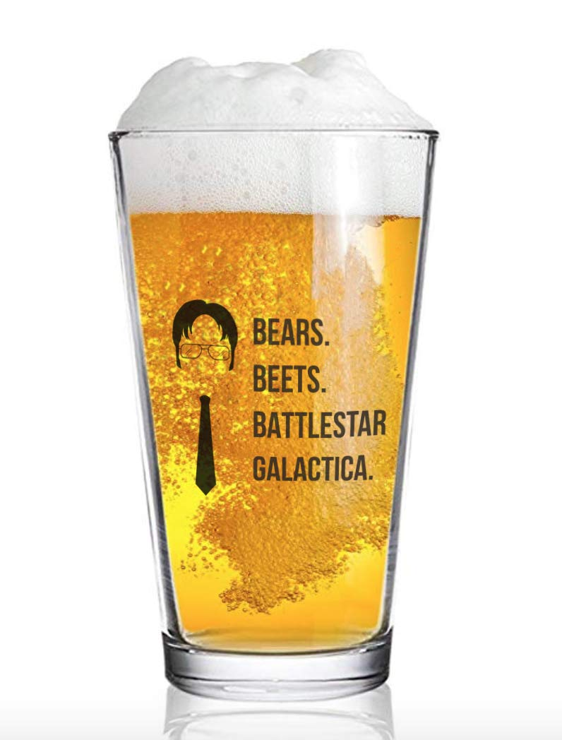 The Office Funny Beer Glass | Merchandise Mug''Bears Beats Battlestar Galactica'' | Dwight Schrute Quote Craft Beer Glasses by Vivid Ventures (Image #2)