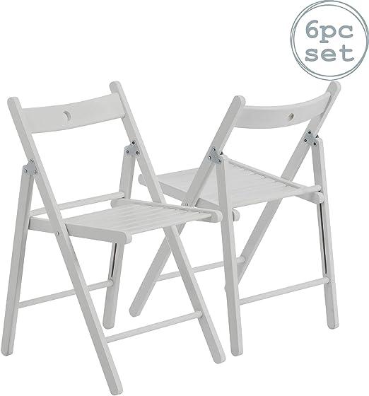 Silla plegable - Madera - Blanco - Pack de 6: Amazon.es: Hogar