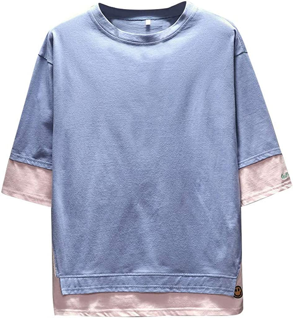 LUCAMORE Men Fashion Shirt Plus Size Cotton Half Sleeve O-Neck Patchwork Loose T-Shirt Casual Blouse Tops