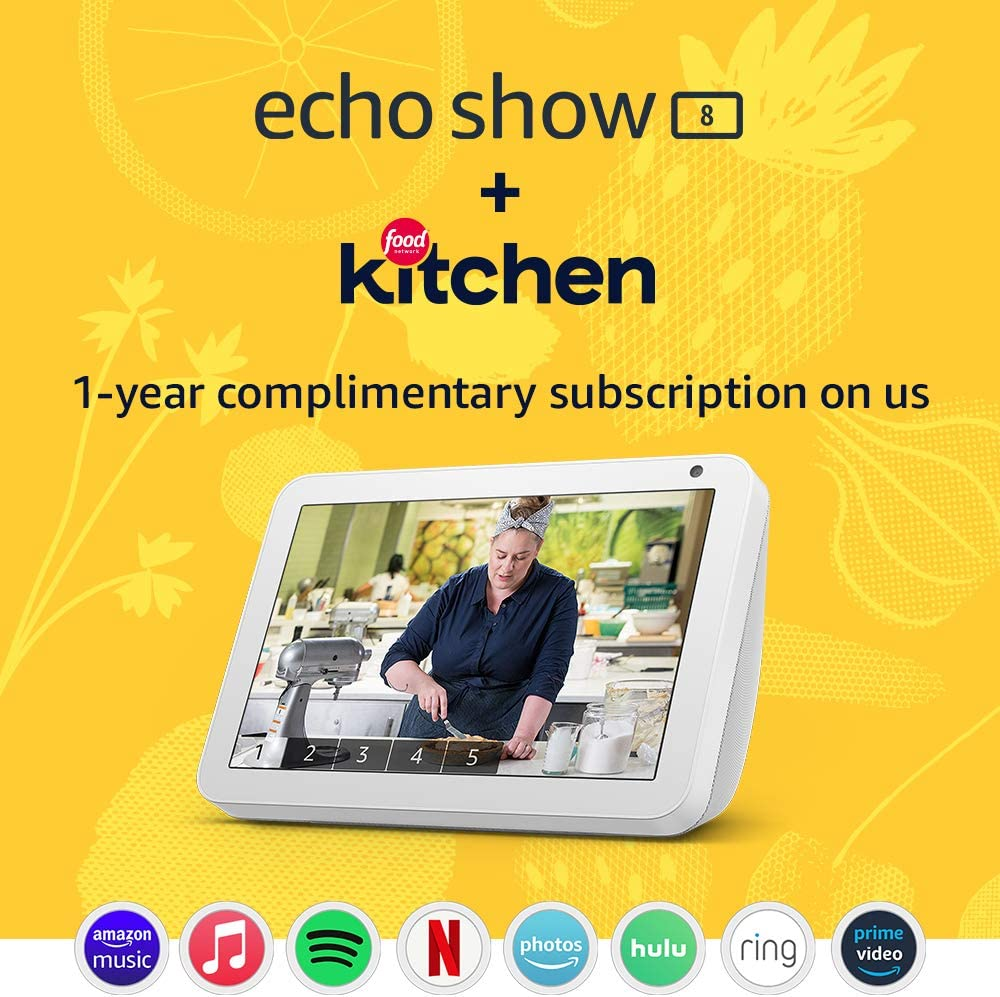 Echo Show 8 (Sandstone) Kitchen Bundle with Food Network Kitchen Complimentary Subscription