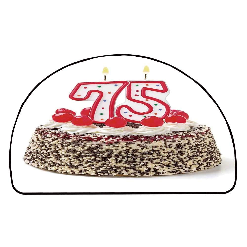 C COABALLA 75th Birthday Decorations Comfortable Semicircle Mat,Cute Number Candles on a Delicious Cake with Cherries Happiness for Living Room,11.8'' H x 23.6'' L