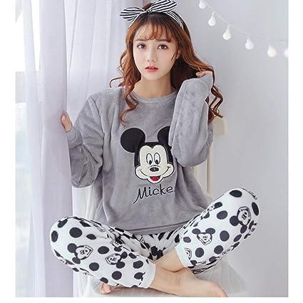 SALICEHB Pijamas De Invierno De Las Mujeres De Franela Conjunto De Pijamas Ropa De Manga Larga