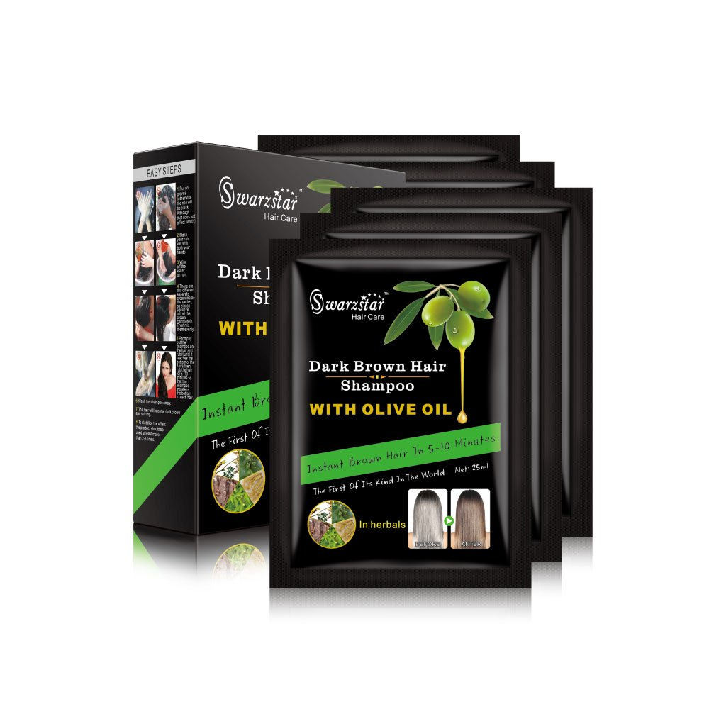 Swarzstar Hair Color Shampoo Dark Brown- with Olive Oil 125 ml (Pack of 5 Sachets = 25ml x 5 Sachets)