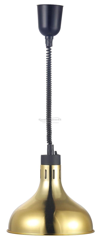 Wärmelampe Buffet Speisen Wärmestrahler zur Deckenbefestigung Ø 270 mm Gold 0, 25 kW 230 V Spiralkabel stufenlos einstellbar GastroTrade